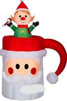 CHRISTMAS 5 FT SANTA ANIMATED ELF POP UP MUG CUP AIRBLOWN INFLATABLE YARD GEMMY