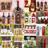 Merry Christmas Fancy Santa Claus Outfit Wine Bottle Bag Cover Xmas Table Decor