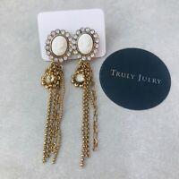 Uk Ladies Gold White Cameo Drop Diamanté Design Earrings Jewellery Gift