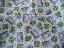 """coupon tissu """" campagne vaches et marguerites """"  54  X 108 cm"""