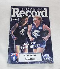 1992 AFL Football Record Richmond Tigers v Carlton Blues Vol.81 No.15