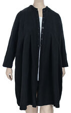 CHEYENNE S/M Black Linen Cotton Coat / Jacket with Pleats $200 NWT Runs LARGE