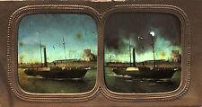 Port Bateau à vapeur Stéréo Diorama Tissue Vintage Albumine ca 1860