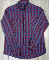 Mens Barbour international Leo flannel shirt LARGE chequered red blue