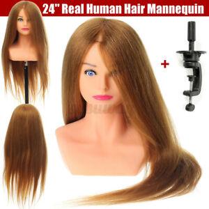 61cm 100% Echt Menschen Haar Schaufensterpuppe Kopf Friseur Training + Ständer U