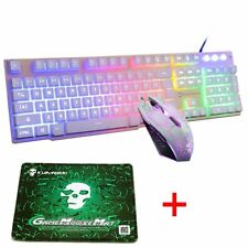 UK T6 Wired Backlit Usb Gaming Keyboard + 2400DPI Gaming Mouse + Mouse Pad Sets