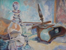 OIL ON CANVAS LAID ON BOARD KITCHEN STILL LIFE FREE SHIPPING TO ENGLAND