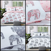 Elephant Paisley Animal Print Reversible Duvet Cover Set & Pillowcase Bedding