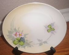 "Vtg Nippon Porcelain Plate Floral Flowers Berries Roses 8"" Hand Painted"