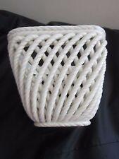"Vintage Spain White Ceramic Pottery Cachepot Woven Rope Basket Planter 4.75"" H"