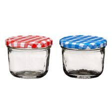 Premier 150ml Clear Glass Jar Kitchen Storage Canister Pot With Blue Gingham Lid