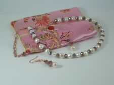 White Freshwater Pearls & Faceted Crystals Necklace & Earring Set