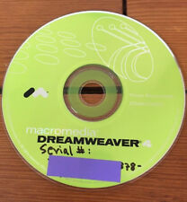 2000 Macromedia Dreamweaver 4 HTML Web Page w Serial Number Mac Software CD