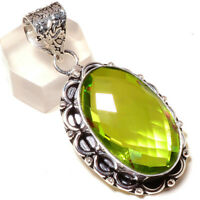 """FREE SHIPPING FACETED PERIDOT SHINING GEMSTONE SILVER JEWELRY PENDANT 2.5"""""""