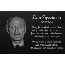 "PERSONALISED  MEMORIAL Slate stone GRAVE PLAQUE - Photoengraving 20"" x 10"" G-033"