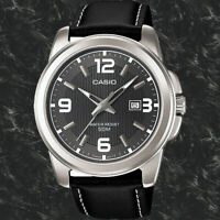 Casio MTP-1314L-8AV Men's Grey Dial Analog Watch Black Leather Band New