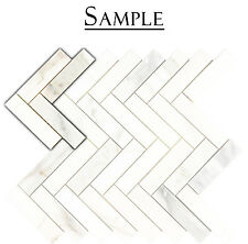 SAMPLE* Herringbone Polished Calacatta Gold Marble Kitchen Bath Mosaic Tile