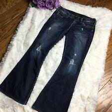 Silver Jeans Tuesday 22 Flare Womens Blue Denim Size 26 x 30 Dark Wash Destroyed