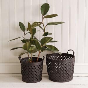 Two Black BOHO Storage Baskets with Handles