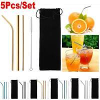 5pcs/Set Reusable Stainless Steel Straight Bent Drinking Straws Clean Brush Kit
