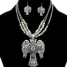 Premium Vintage Western Gold & Silver Winged Cross Rhinestone Necklace Earring