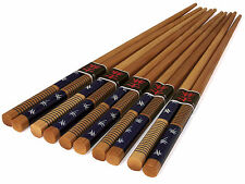 "5 Pairs Japanese 9""L Natural Bamboo Wooden Chopsticks Set Blue & Brown Thread"