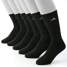New Adidas Climalite Men's Crew Socks 6 Pairs/Pk, Cushioned, Size L(6-12), Black