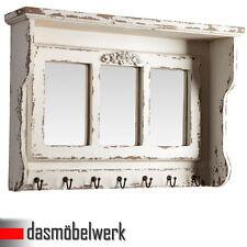 Wand Garderobe 7 Haken- 3 Spiegel weiß Landhaus Hakenleiste Kleiderhaken WOW