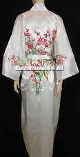 Embroidered Floral Design Handmade Silk Satin Kimono Robe w/ Waist Tie, White