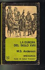 MS Anderson La Europea Del Siglo XVIII FCE Breviarios 199 1974 Mexico