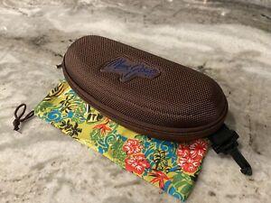 NEW Maui Jim Sport Case Bundle - Large Brown Zippered w/ Sunglass Pouch