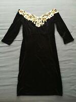 QUIZ Women's Black Velvet Bardot Gold Embellished Dress Size 16 New With Tags