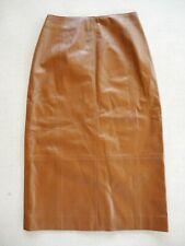 Vince Brown Leather Pencil Skirt