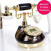 Ceramic Retro Corded Telephone Desk Vintage Phone Caller ID Home Speakerphone