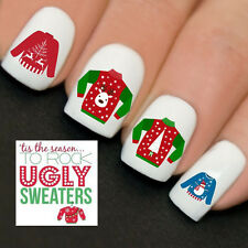 Nails WRAPS Nail Art Water Transfers Decals Ugly Christmas Jumpers Sweaters Y770