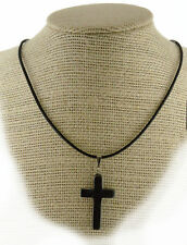 BOHO Protection Hematite Cross Pendant Leather Necklace PB15 FREE GIFT BOX WOW