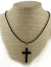 Hematite Cross Pendant Necklace PB15Leather Cord  Grounding Memory Peace Calm
