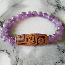 Violet Purple Jade 10mm Beaded Bracelet Long Feng Shui Old 9-eye Agate dZi