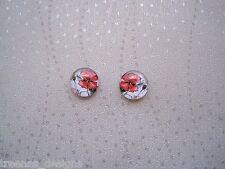 Domed Glass Red Poppy Flower Stud SP Earrings Rockabilly Poppies Rememberance