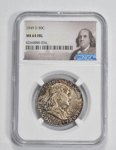 MS64 FBL 1949-D Franklin Half Dollar - 90% SILVER - NGC Graded *255