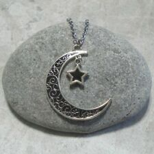 Black Moon And Star Pendant Necklace Antique Silver