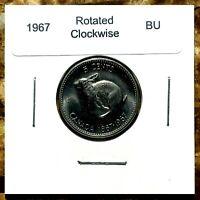 Canada 1967 Rotated Dies Clockwise BU Centennial Nickel!!
