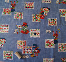 "Cross Stitch & Girl Cotton Fabric * By The Half Metre * 115cm/45"" wide *"