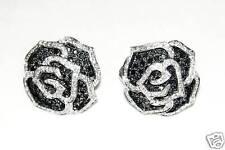 18K WHITE GOLD BLACK WHITE DIAMOND FLOWER EARRINGS