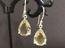 925 Sterling Silver Lemon Topaz Quartz Teardrop Earrings Gemstones Tear Drop