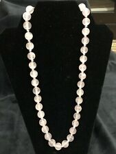 Beautiful Rose Quartz Bead Necklace with Silver Connector piece