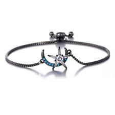 Grey Black Friendship Slim Thin Blue CZ Rhinestones Moon Stars Slider Bracelet