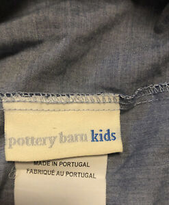Pottery Barn Kids Teen Blue Chambray QUEEN Fitted Sheet - New! W/flaw