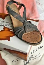 NEW DONALD J PLINER -Grey/bronze metallic leather:Cork Wedge Sandal Women Size 9