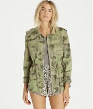 Billabong Womens Cant See Me Military Camo Jacket Size M Army Green MSRP $89